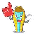 foam finger sleeping bad mascot cartoon vector image