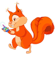 funny squirrel with gps vector image vector image