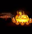 Ganesha with diya on happy Diwali Holiday vector image vector image