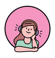 girl listening in headset avatar round icon vector image