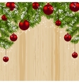 Green branch of fir with red balls and snowflakes vector image vector image