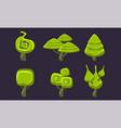 green fantasy shape trees set fantastic forest vector image vector image