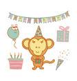 hand-drawn monkey birthday man in a cap vector image
