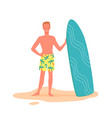 happy surfer with surfboard on beach young man vector image