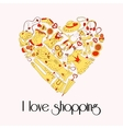 Heart from stylish hand drawn set of fashion items vector image vector image