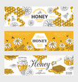 honey labels honeycomb and bees vintage sketch vector image vector image