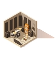 isometric low poly recording studio icon vector image