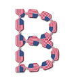 Letter B made of USA flags in form of candies vector image vector image
