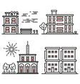 line art houses collection - city objects vector image vector image