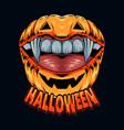 lip shaped halloween pumpkin with pretty vampire vector image