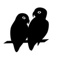 lovebird parrots silhouette icon in flat style vector image vector image