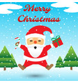 merry christmas - santa claus jumping among snow vector image vector image