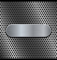 metal oval plate on perforated background vector image vector image
