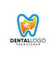 modern dental on beach logo design inspiration vector image vector image