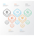 multimedia outline icons set collection of audio vector image vector image