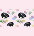 pink pattern with rabbit and snowdrop vector image