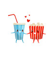 popcorn bucket and cup of soda drink are friends vector image vector image