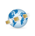 realistic sim cards around earth vector image vector image