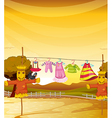 Scarecrows near the hanging clothes vector image vector image