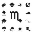 set of 12 editable weather icons includes symbols vector image