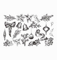 set of isolated hand drawn monochrome christmas vector image