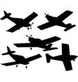 set silhouettes plane vector image
