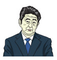 shinzo abe the prime minister of japan cartoon vector image vector image