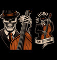 skeleton with double bass vector image