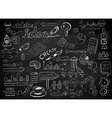 Social Media doodles Sketch set with infographics vector image vector image
