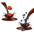 strawberry and blueberry splashing in chocolate vector image vector image