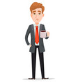 tired businessman in suit holding cup with hot vector image vector image