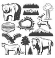 vintage yellowstone national park icons set vector image