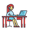 woman working on table with laptop and headset vector image vector image