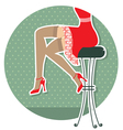 retro woman legs with fashion shoes sitting on bar vector image