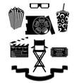 set cinema icons black silhouette outline stock vector image