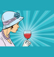 retro lady with a glass of wine vector image