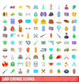 100 crime icons set cartoon style vector image