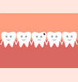 a row of teeth one of which has caries vector image