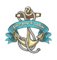anchor with ropes and ribbon tattoo vector image