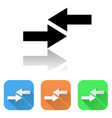 arrows icon colored set of right and left arrow vector image