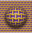Ball rolls along surface Abstract optical Purple vector image vector image
