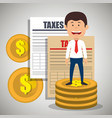 businessman character with taxes icons vector image