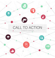 call to action trendy web template with simple vector image
