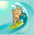 cartoon bear surfing riding wave vector image vector image