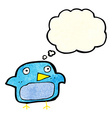 cartoon bluebird with thought bubble vector image vector image