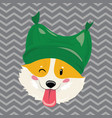 cartoon portrait a dog in a hat christmas cute vector image vector image
