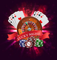 Casino Roulette with Red Ribbon Lucky night vector image vector image