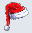 christmas santa claus hat on white background vector image vector image