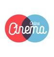 Color vintage online cinema emblem vector image vector image