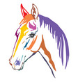 colorful decorative horse 11 vector image vector image